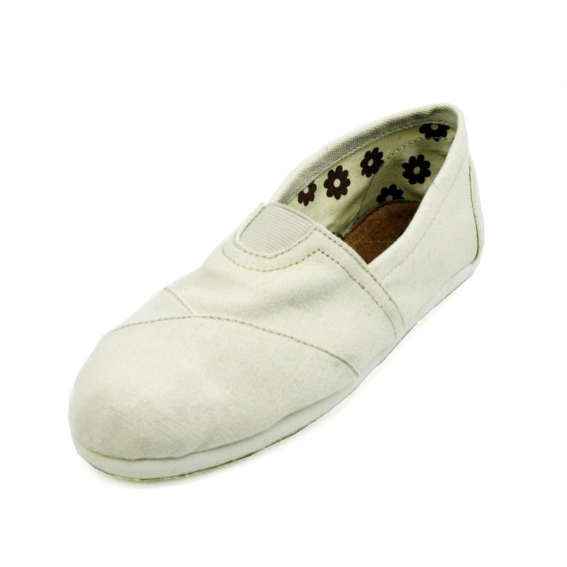 Beige Canvas Flats Womens Shoes