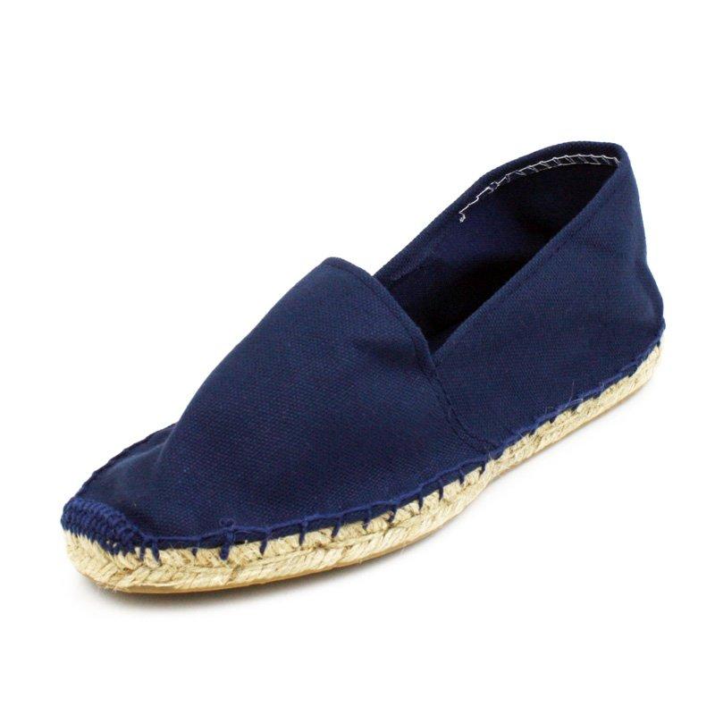 Navy Blue Canvas Flat Espadrille Womens Shoes