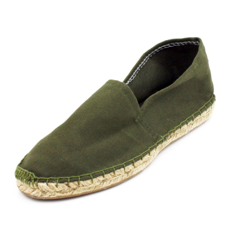 Olive Green Canvas Flat Espadrille Womens Shoes