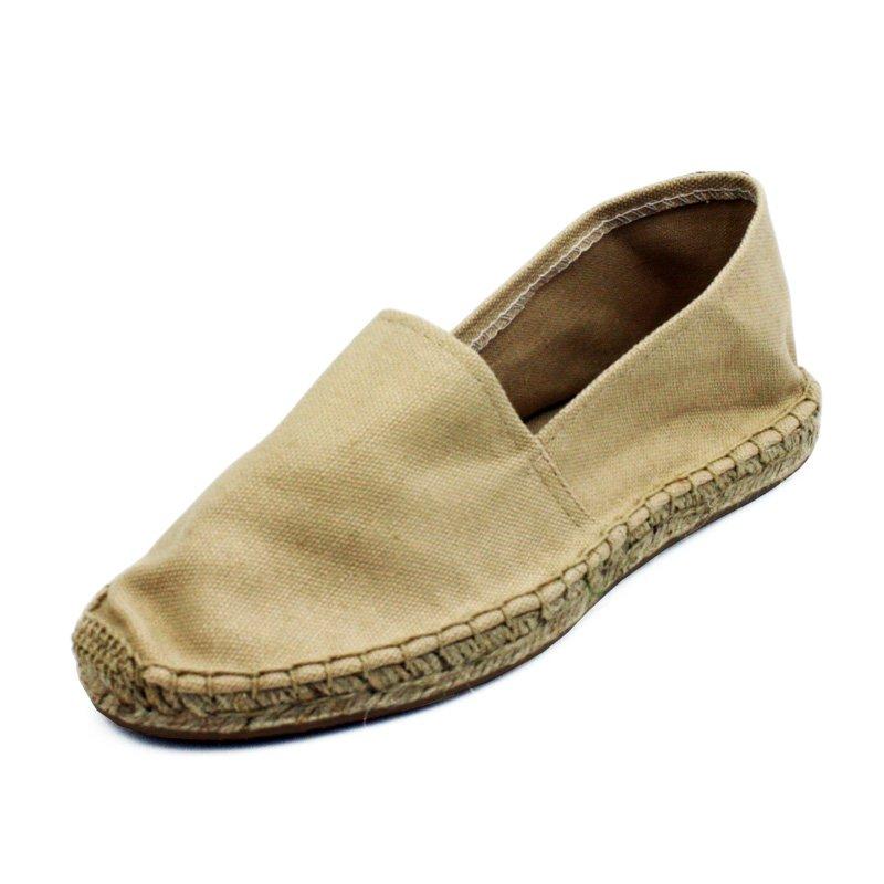 Beige Canvas Flat Espadrille Womens Shoes
