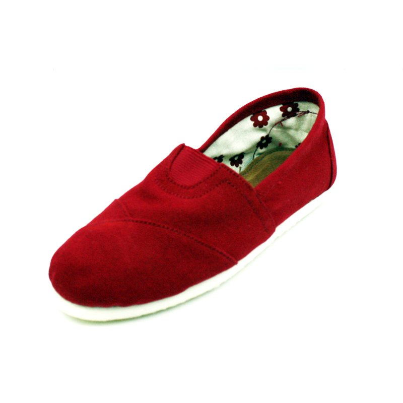 Red Canvas Flats Womens Shoes