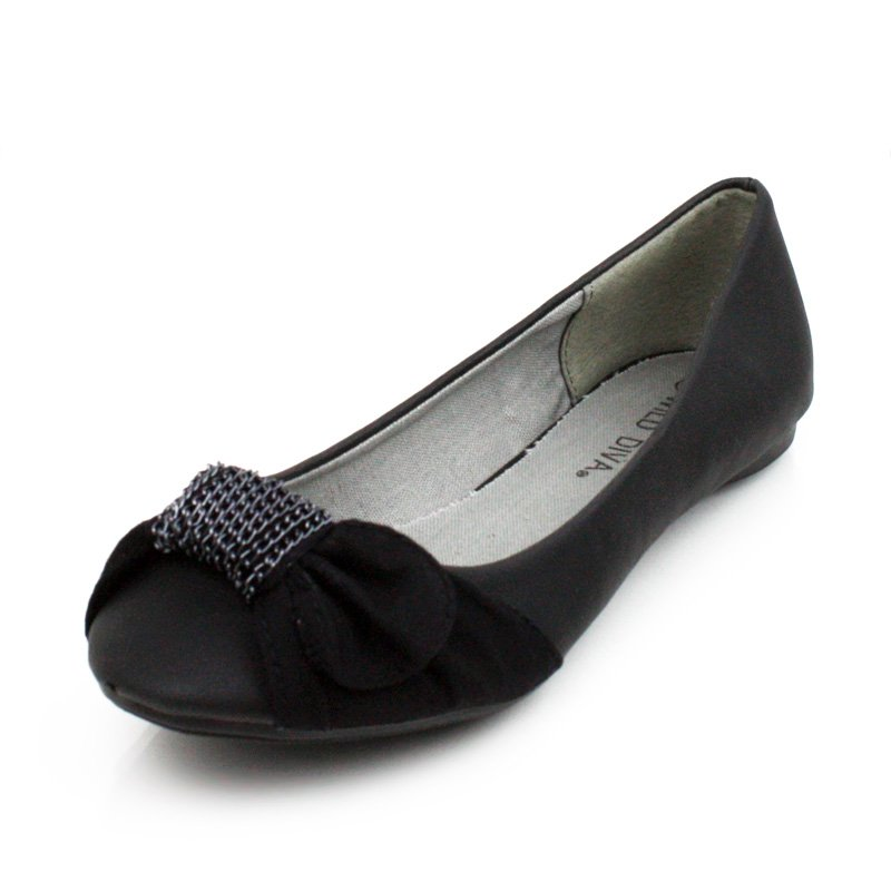 Black Mini Chain Flats Womens Shoes