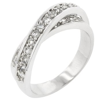 NEW White Gold Silver Double CZ Band Ring