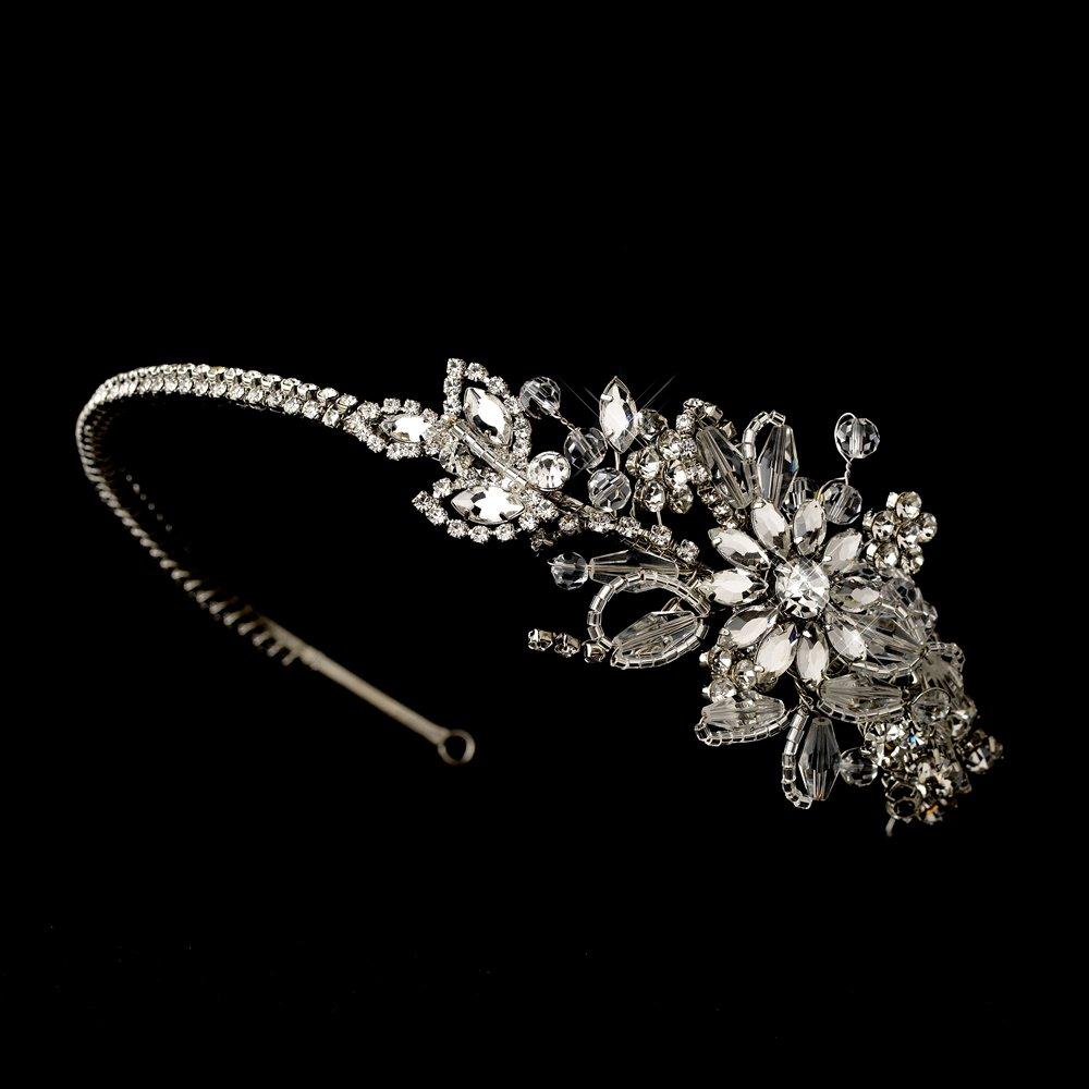 Silver Vintage Floral Swarovski Crystal Headband Tiara