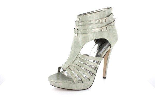 NEW Gray Studded Open Toe Platform High Heels Shoes