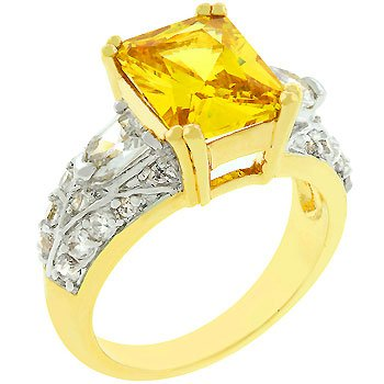 NEW 14k Gold Yellow Cubic Zirconia  Princess Cut Ring
