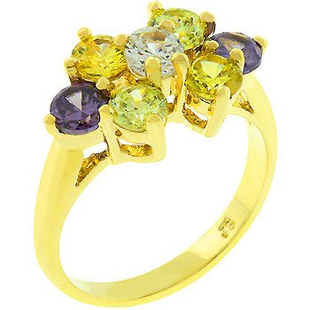 NEW 14K Gold Purple Light Green Champagne CZ Ring