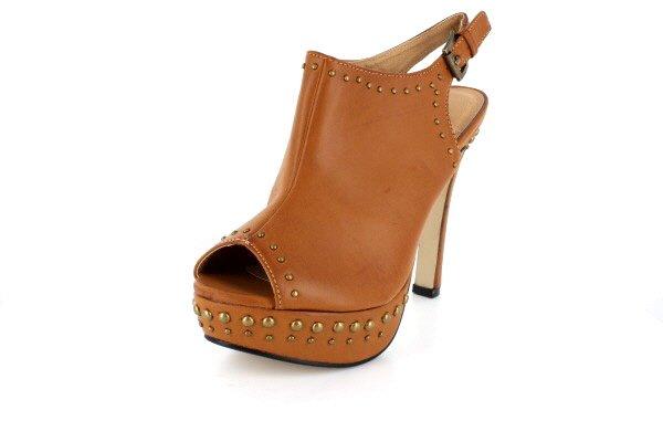 NEW Tan Studded Peep Toe Platform High Heels Shoes