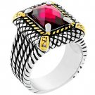 NEW 14k Gold White Gold Dark Pin CZ Cable Ring
