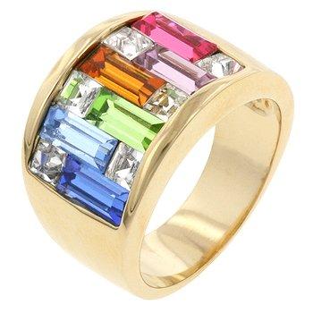 NEW 14k Gold Light Multi-Color Swarovski Crystal Ring