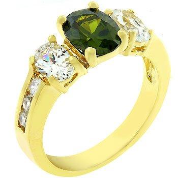 NEW 14k Gold Olive CZ  Anniversary Ring
