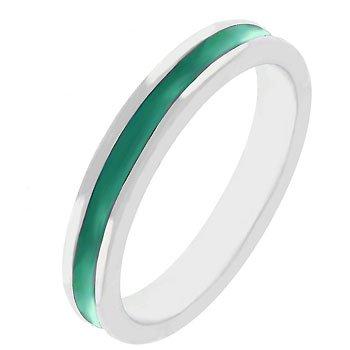 NEW White Gold Silver Green Enamel Eternity Ring