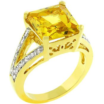 NEW 14k Gold Oversize Yellow Princess Cut CZ Ring