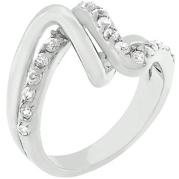 NEW White Gold Silver ChannelCZ Set Mirror Ring