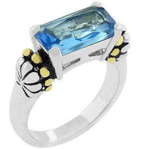 NEW 14k White Gold Emerald Cut Blue Aqua CZ Ring