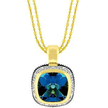 NEW 14K Gold Silver CZ Blue Topaz Pendant Necklace