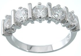 NEW 925 Sterling Silver CZ Platinum Brilliant Ring