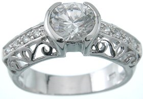 NEW 925 Sterling Silver CZ Platinum Antique Ring