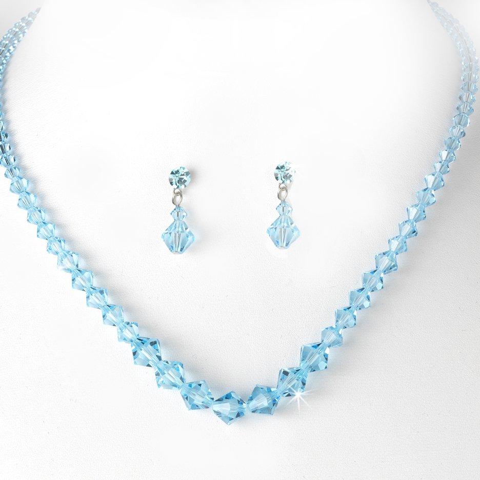 Turquoise Swarovski Crystal Necklace Earring Set