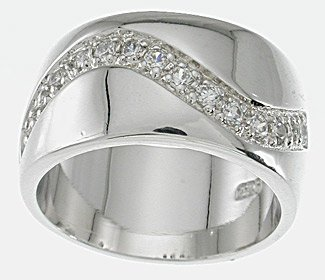 NEW 925 Sterling Silver CZ Platinum Band Ring