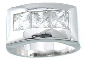 NEW 925 Sterling Silver CZ Platinum Princess Ring