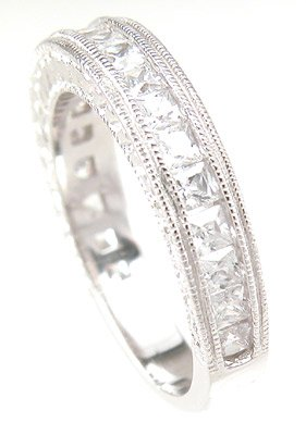 NEW 925 Sterling Silver CZ Antique Wedding Band