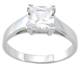 NEW 925 Sterling Silver CZ Princess Solitaire Ring
