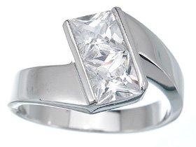 NEW 925 Sterling Silver CZ Princess Fashion Ring