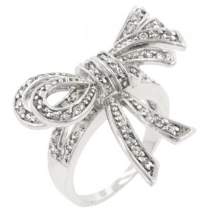White Gold Rhodium Bonded Bow Inspired Fashion Ring