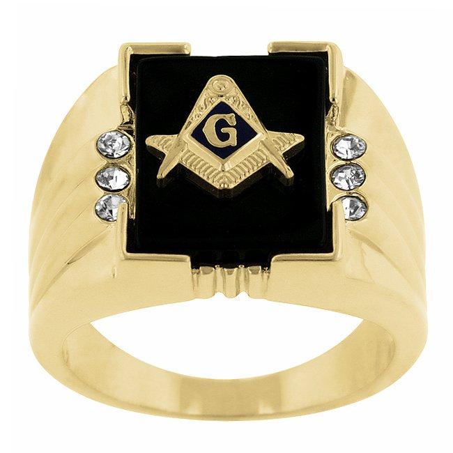 14k Gold Bonded Ring Sapphire Onyx Mens CZ Ring