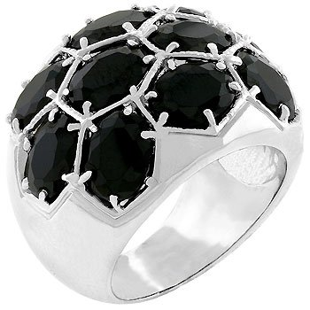 White Gold Rhodium Bonded Jet Black CZ Dome Ring