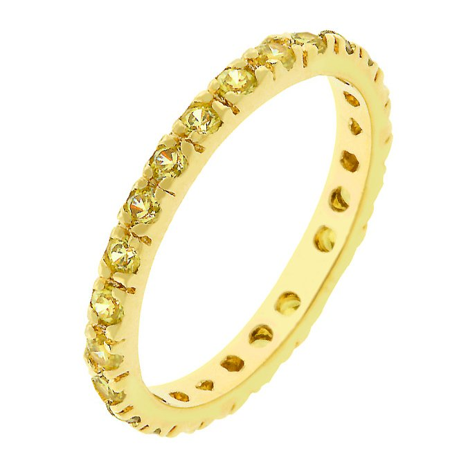 14k Gold Bonded Eternity Yellow CZ Ring