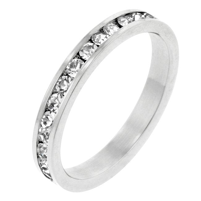 White Gold Rhodium Round Cut Clear CZ Stacker Ring