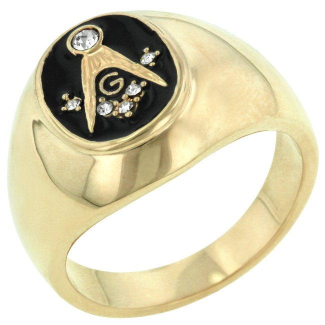 14k Gold Bonded Onyx Masonic CZ Ring