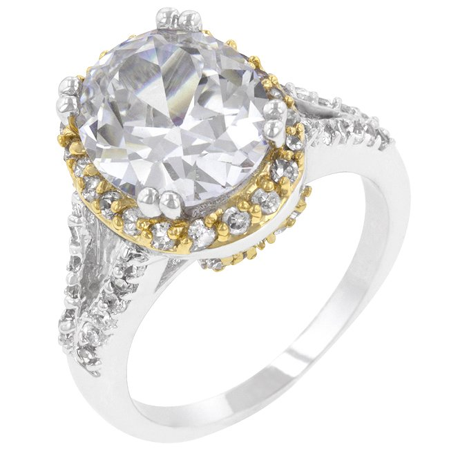 White Gold Rhodium 14k Gold Bonded CZ Ring