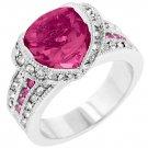 White Gold Rhodium Bonded Princess Keylani Ring