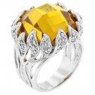 White Gold Rhodium Bonded Vintage Yellow CZ  Ring