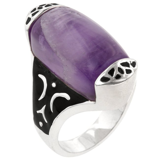White Gold Rhodium Bonded  Oval Cut Amethyst Ring