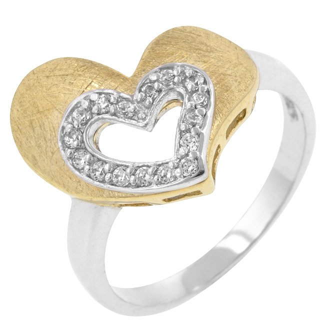 White Gold Rhodium 14k Gold Bonded Clear CZ Ring