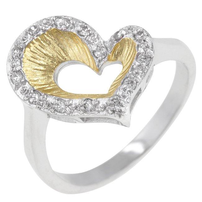 White Gold Rhodium 14k Gold Bonded Rounf Cut CZ Ring