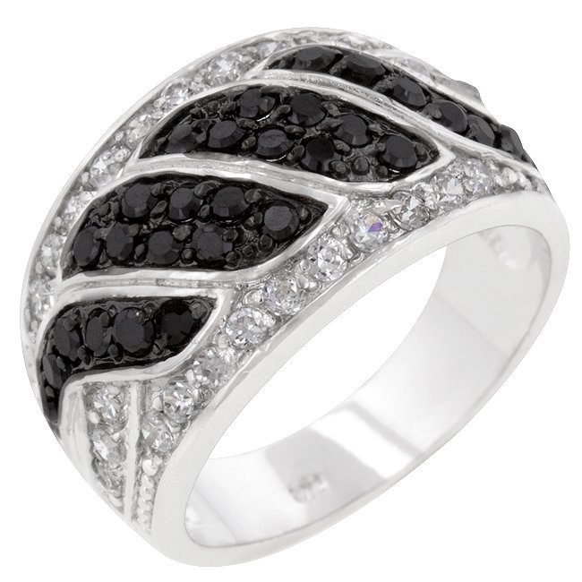White Gold Rhodium Bonded CZ Round Cut Black Onyx Ring