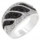 White Gold Rhodium Bonded CZ Round Cut Black Onyx Ring