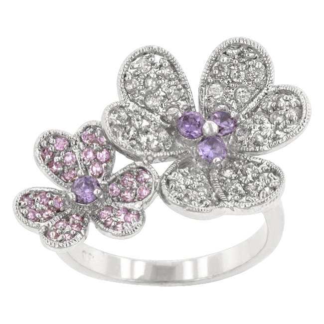 White Gold Rhodium Bonded Floral CZ Cocktail Ring