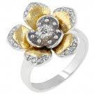 White Gold Rhodium and 14k Gold Bonded CZ Ring