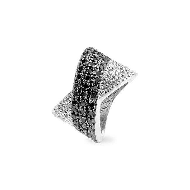 White Gold Rhodium Bonded Black Jewelers Ink Ring
