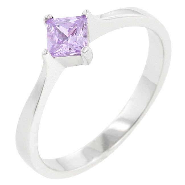 .925 Sterling Silver Lavender CZ Engagement Ring