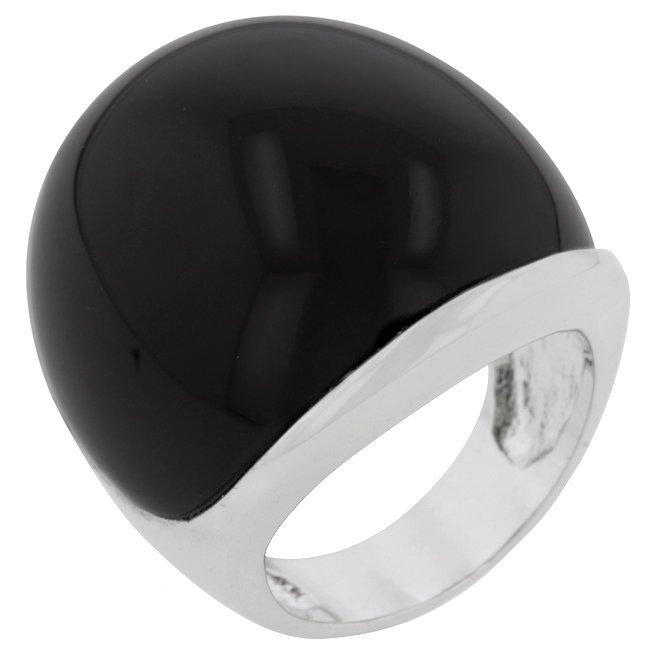 White Gold Rhodium Bonded  Black Onyx Cabochan Ring