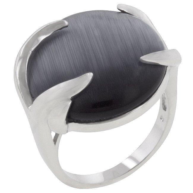 White Gold Rhodium Bonded Gray Eye Cocktail Ring