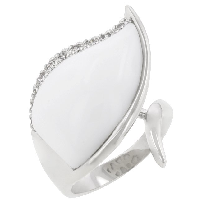 White Gold Rhodium Bonded Cabochan Cut White Resin Ring