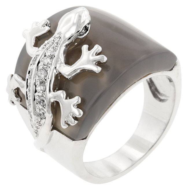 White Gold Rhodium Bonded CZ Reptilian Ring